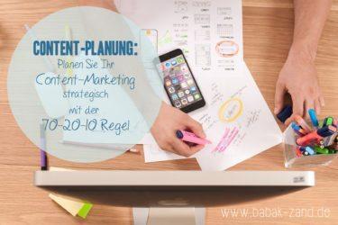 Content-Planung: Planen Sie ihr Content-Marketing strategisch mit der 70-20-10 Regel.