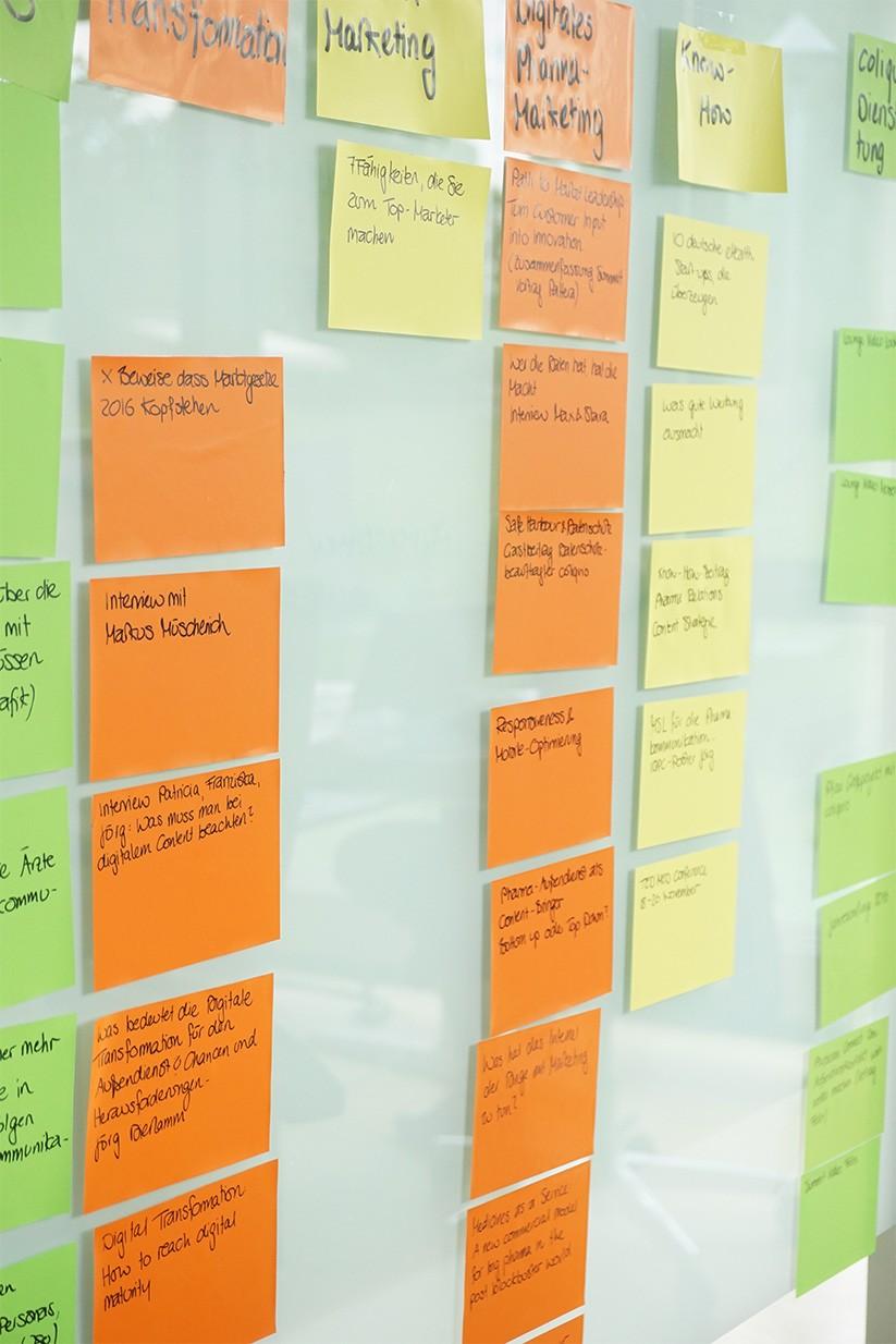Agile Marketing: Das Scrum-Board bei coliquio. Userstories orintieren sich an den aktuellen OKRs.